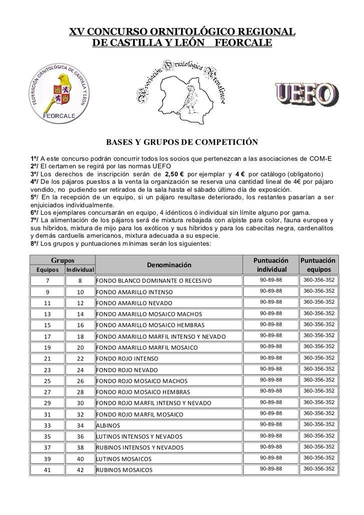 XV CONCURSO ORNITOLÓGICO REGIONAL                 DE CASTILLA Y LEÓN FEORCALE                           BASES Y GRUPOS DE ...