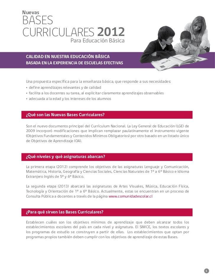 NuevasBASESCURRICULARES 2012        Para Educación Básica CALIDAD EN NUESTRA EDUCACIÓN BÁSICA BASADA EN LA EXPERIENCIA DE ...