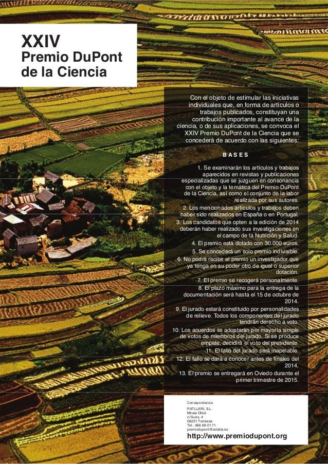 XXIV Premio DuPont de la Ciencia Con el objeto de estimular las iniciativas individuales que, en forma de artículos o trab...