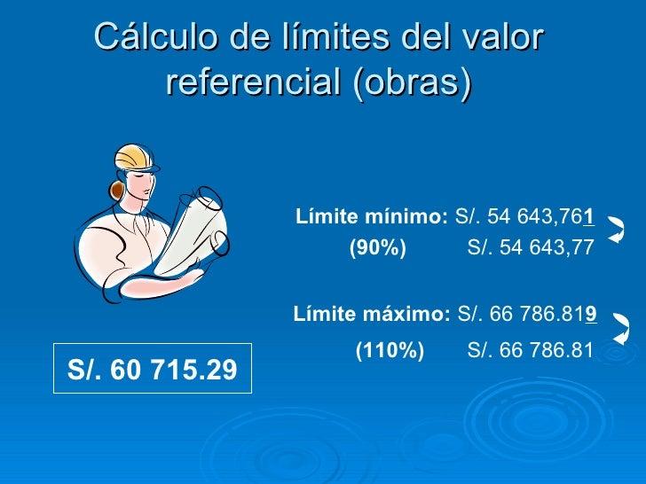 Cálculo de límites del valor referencial (obras) S/. 60 715.29 Límite mínimo:  S/. 54 643,76 1 (90%)   S/. 54 643,77 Límit...