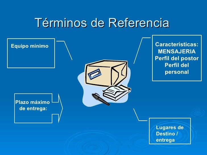 Términos de Referencia Características: MENSAJERIA Perfil del postor Perfil del personal Plazo máximo  de entrega: Equipo ...