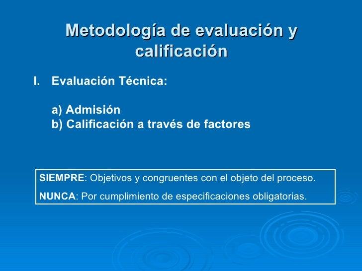 Metodología de evaluación y calificación SIEMPRE : Objetivos y congruentes con el objeto del proceso. NUNCA : Por cumplimi...