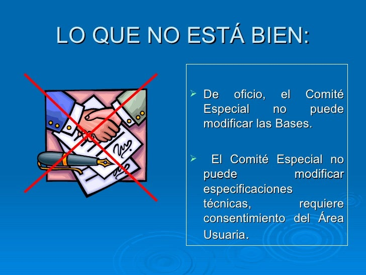 LO QUE NO ESTÁ BIEN: <ul><li>De oficio, el Comité Especial no puede modificar las Bases. </li></ul><ul><li>El Comité Espec...