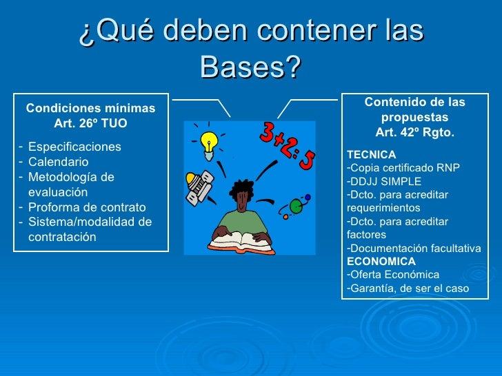 ¿Qué deben contener las Bases? <ul><li>Contenido de las propuestas </li></ul><ul><li>Art. 42º Rgto. </li></ul><ul><li>TECN...