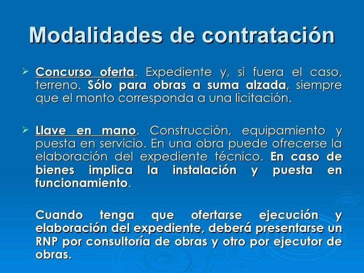 Modalidades de contratación <ul><li>Concurso oferta . Expediente y, si fuera el caso, terreno.  Sólo para obras a suma alz...