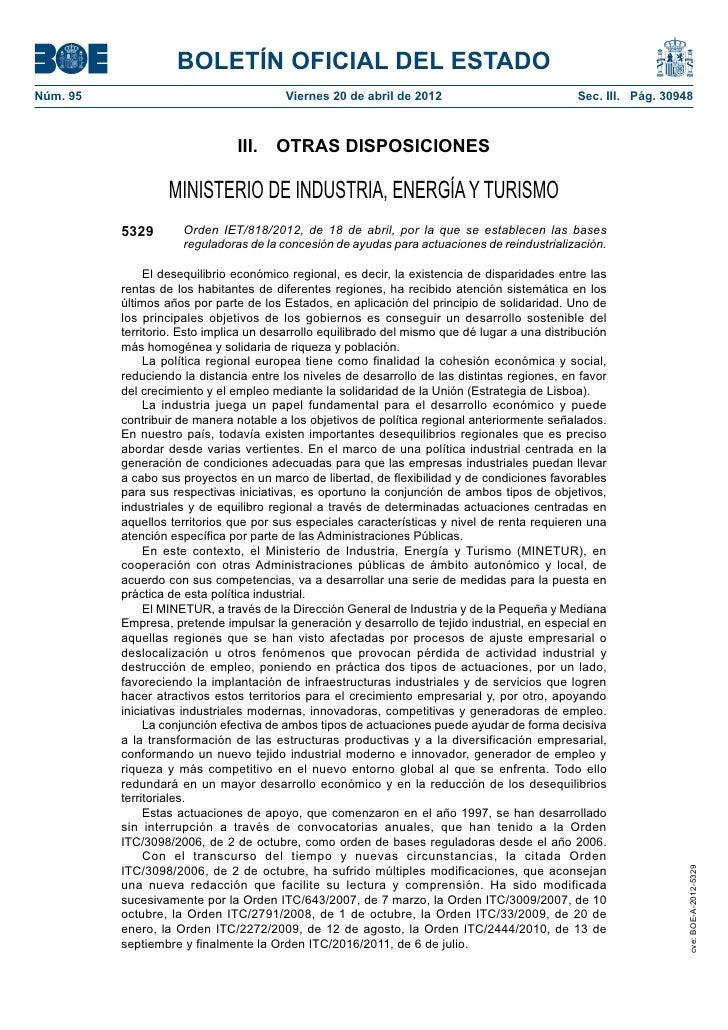 BOLETÍN OFICIAL DEL ESTADONúm. 95                                  Viernes 20 de abril de 2012                          ...