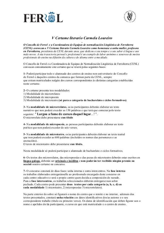 V Certame literario Carmela Loureiro , O Concello de Ferrol e a Coordenadora de Equipas de normalizaci�n Ling��stica de Fe...
