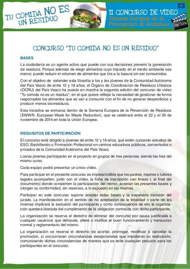"""II CONCURSO DE VÍDEO  Semana Europea de la  Prevención de Residuos  ¡PARTICIPA!  T U COMIDA NO ES  UN RES IDUO  CONCURSO """"..."""