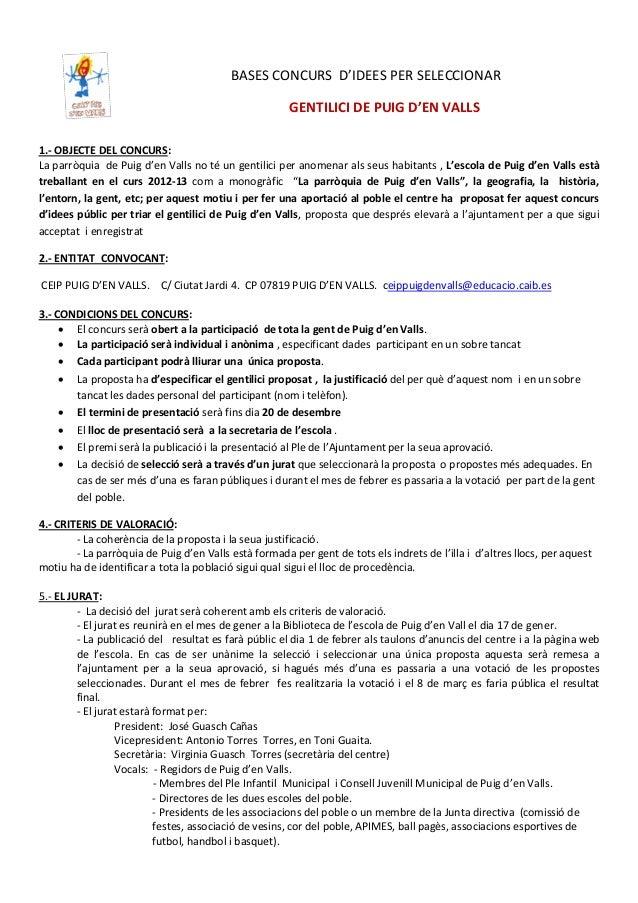 BASES CONCURS D'IDEES PER SELECCIONAR                                                       GENTILICI DE PUIG D'EN VALLS1....