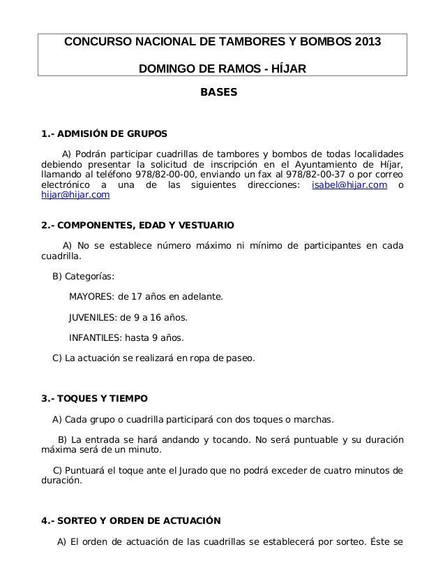 CONCURSO NACIONAL DE TAMBORES Y BOMBOS 2013                     DOMINGO DE RAMOS - HÍJAR                                  ...