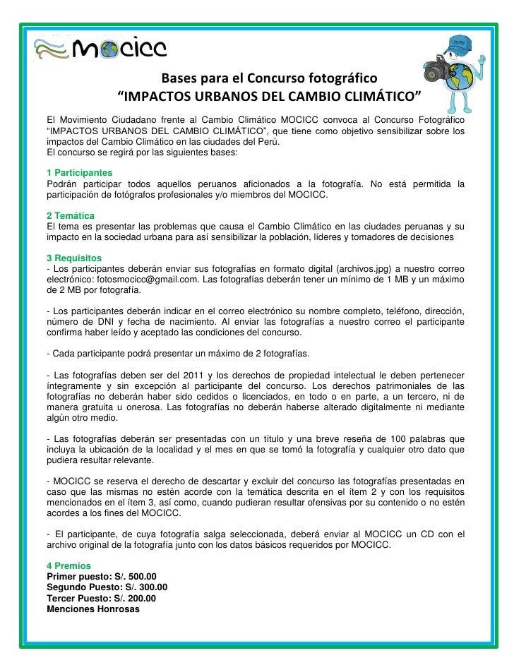 """Bases para el Concurso fotográfico                 """"IMPACTOS URBANOS DEL CAMBIO CLIMÁTICO""""El Movimiento Ciudadano frente a..."""