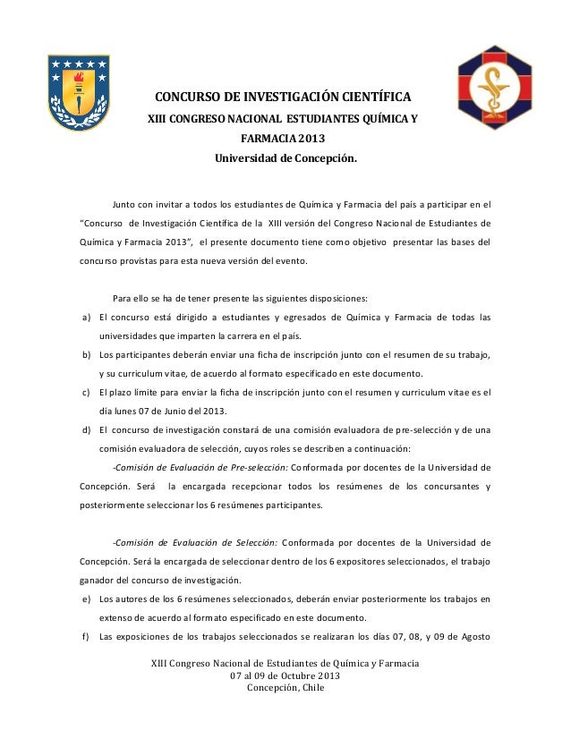 CONCURSO DE INVESTIGACIÓN CIENTÍFICAXIII CONGRESO NACIONAL ESTUDIANTES QUÍMICA YFARMACIA 2013Universidad de Concepción.Jun...