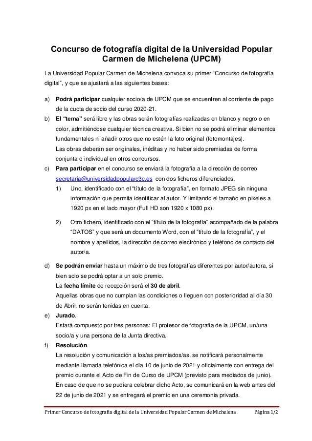 Primer Concurso de fotografía digital de la Universidad Popular Carmen de Michelena Página 1/2 Concurso de fotografía digi...