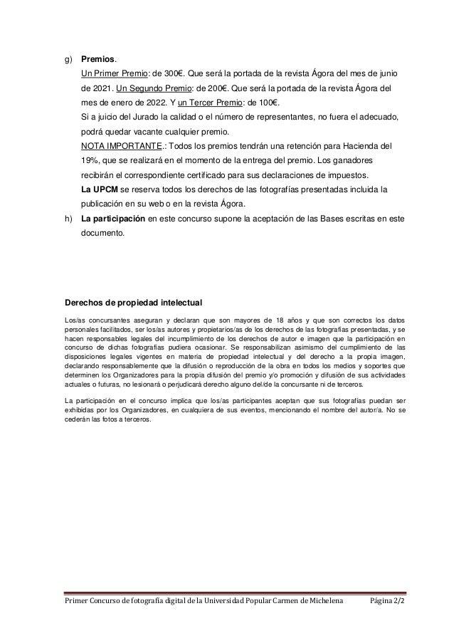 Primer Concurso de fotografía digital de la Universidad Popular Carmen de Michelena Página 2/2 g) Premios. Un Primer Premi...