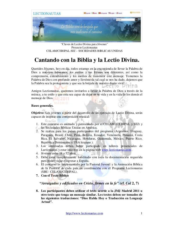"""""""Claves de Lectio Divina para Jóvenes""""                            Proyecto Lectionautas            CELAM/CEBIPAL-SEJ – SOC..."""