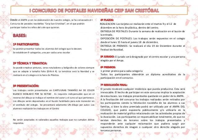 REALIZACION: Las tarjetas se realizarán ente el martes 9 y el 12 de  diciembre en la hora de plástica, dentro del centro. ...