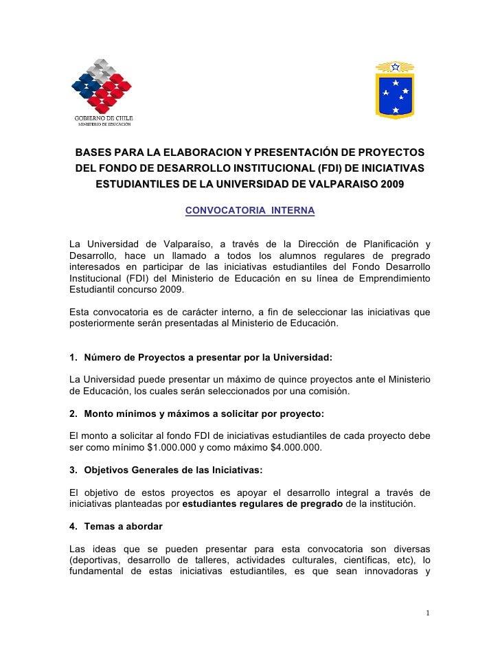 BASES PARA LA ELABORACION Y PRESENTACIÓN DE PROYECTOS  DEL FONDO DE DESARROLLO INSTITUCIONAL (FDI) DE INICIATIVAS     ESTU...