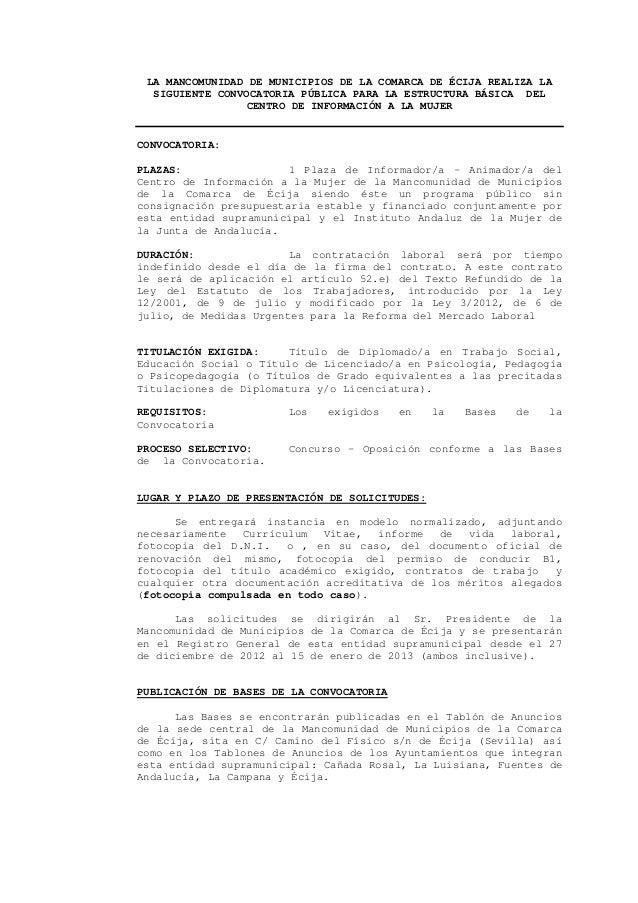 LA MANCOMUNIDAD DE MUNICIPIOS DE LA COMARCA DE ÉCIJA REALIZA LA  SIGUIENTE CONVOCATORIA PÚBLICA PARA LA ESTRUCTURA BÁSICA ...