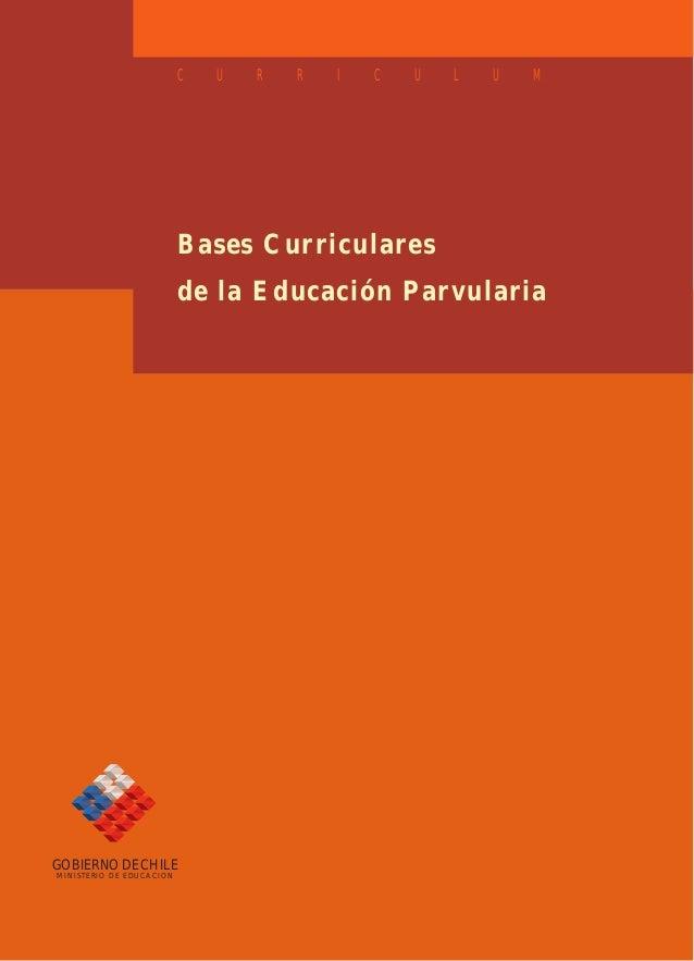 C  U  R  R  I  C  U  L  U  M  Bases Curriculares de la Educación Parvularia  GOBIERNO DE CHILE MINISTERIO DE EDUCACION