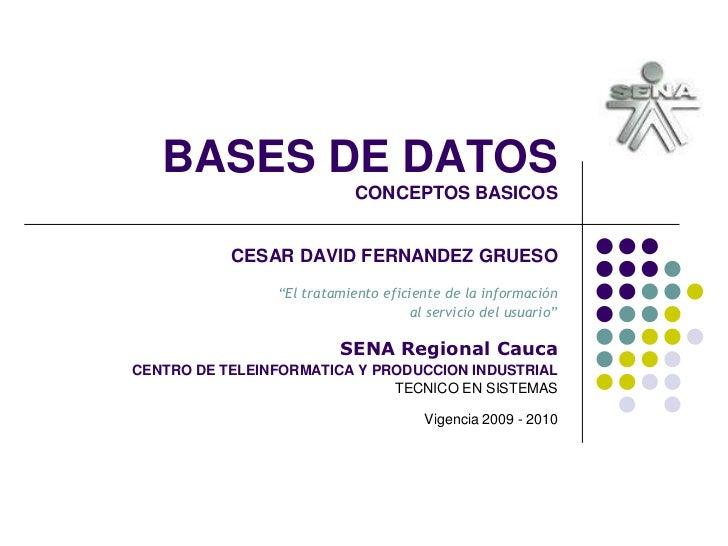 """BASES DE DATOSCONCEPTOS BASICOS<br />CESAR DAVID FERNANDEZ GRUESO""""El tratamiento eficiente de la información<br />al servi..."""