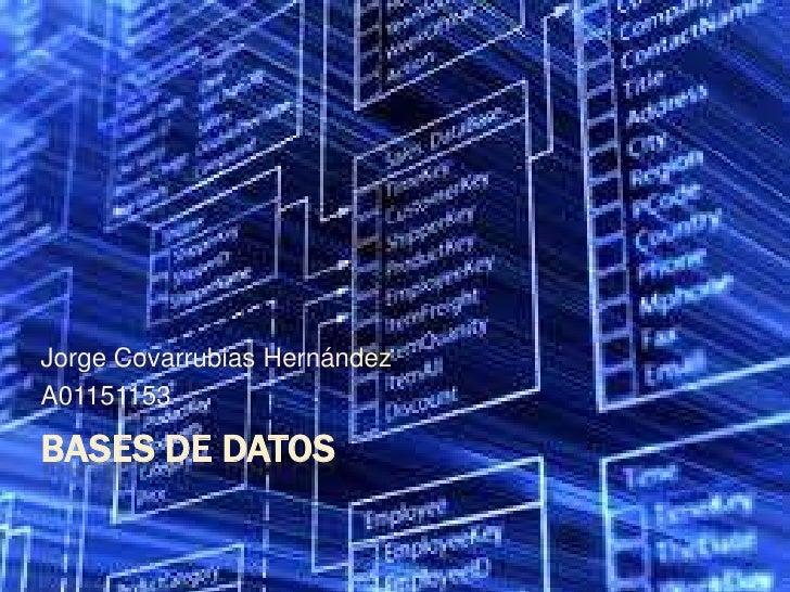 Bases de datos<br />Jorge Covarrubias Hernández<br />A01151153<br />