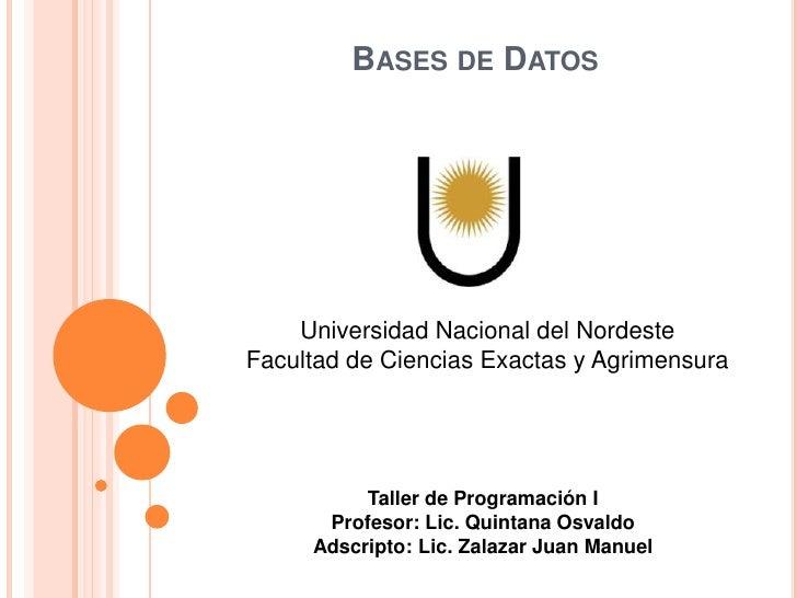 BASES DE DATOS    Universidad Nacional del NordesteFacultad de Ciencias Exactas y Agrimensura          Taller de Programac...