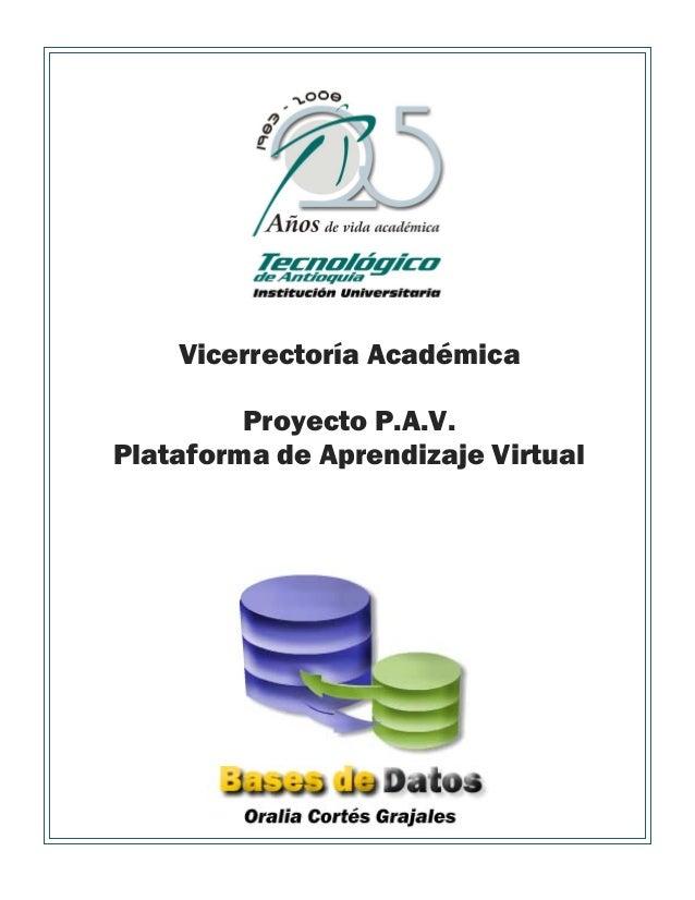 Vicerrectoría Académica Proyecto P.A.V. Plataforma de Aprendizaje Virtual