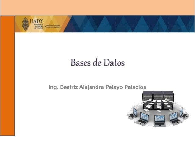 Bases de Datos Ing. Beatriz Alejandra Pelayo Palacios