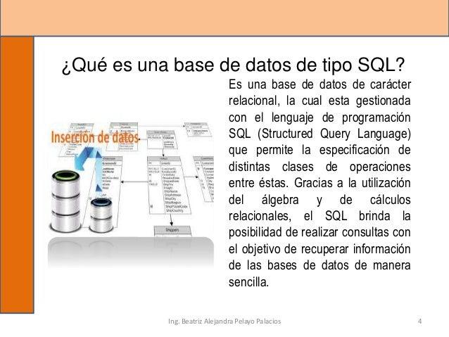 ¿Qué es una base de datos de tipo SQL? Es una base de datos de carácter relacional, la cual esta gestionada con el lenguaj...