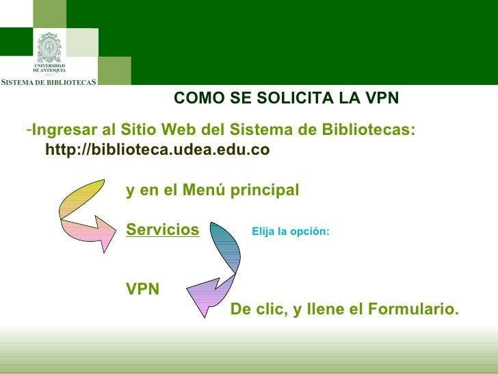 COMO SE SOLICITA LA VPN <ul><li>Ingresar al Sitio Web del Sistema de Bibliotecas: </li></ul><ul><li>http://biblioteca.udea...