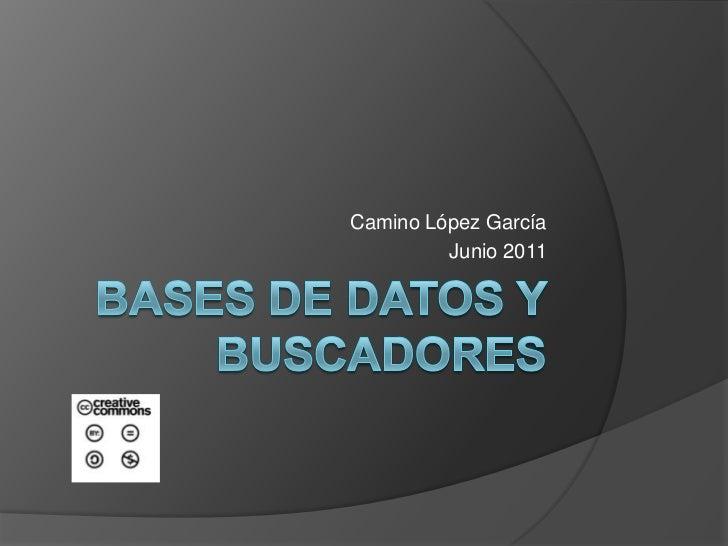 Bases de datos y buscadores<br />Camino López García<br />Junio 2011<br />