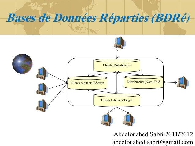 Bases de Données Réparties (BDRé) Abdelouahed Sabri 2011/2012 abdelouahed.sabri@gmail.com Clients, Distributeurs Clients h...