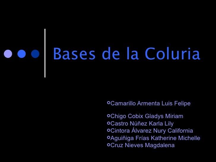 Bases de la Coluria <ul><li>Camarillo Armenta Luis Felipe  </li></ul><ul><li>Chigo Cobix Gladys Miriam </li></ul><ul><li>C...