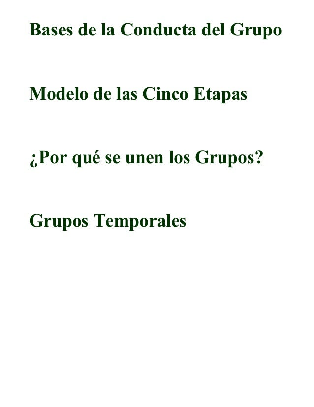 Bases de la Conducta del GrupoModelo de las Cinco Etapas¿Por qué se unen los Grupos?Grupos Temporales