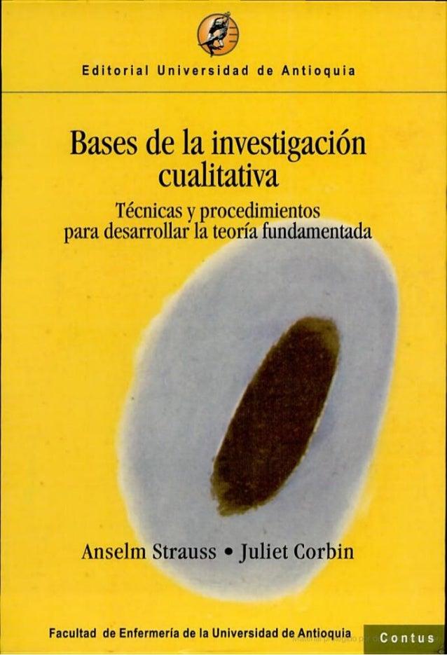 Bases de la investigación cualitativa  técnicas y procedimientos para ... escrito por anselm stra