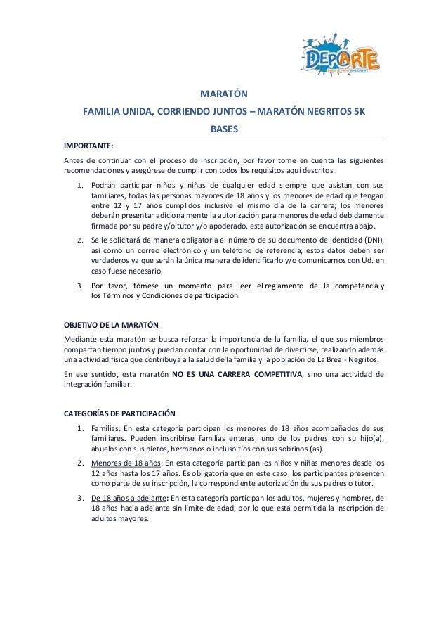 MARATÓN FAMILIA UNIDA, CORRIENDO JUNTOS – MARATÓN NEGRITOS 5K BASES IMPORTANTE: Antes de continuar con el proceso de inscr...