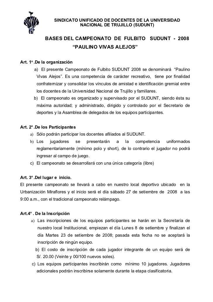 SINDICATO UNIFICADO DE DOCENTES DE LA UNIVERSIDAD                             NACIONAL DE TRUJILLO (SUDUNT)               ...