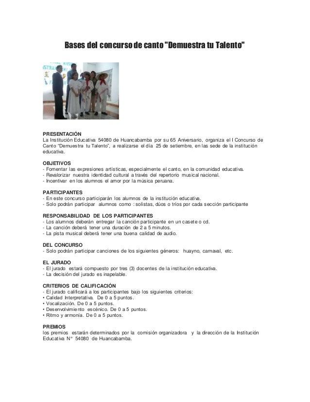 """Bases del concurso de canto """"Demuestra tu Talento""""  PRESENTACIÓN  La Institución Educativa 54080 de Huancabamba por su 65 ..."""