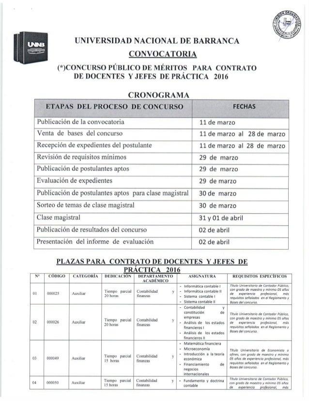 Bases del concurso p blico de m rito para contrato de for Convocatoria concurso de docentes 2016