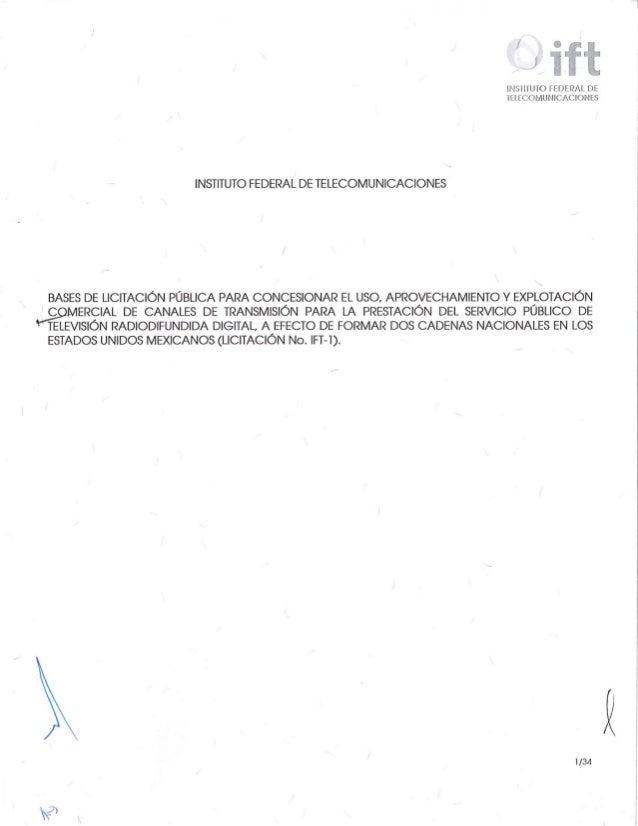 MÉXICO: Bases de licitación para nuevas cadenas de tv   ift