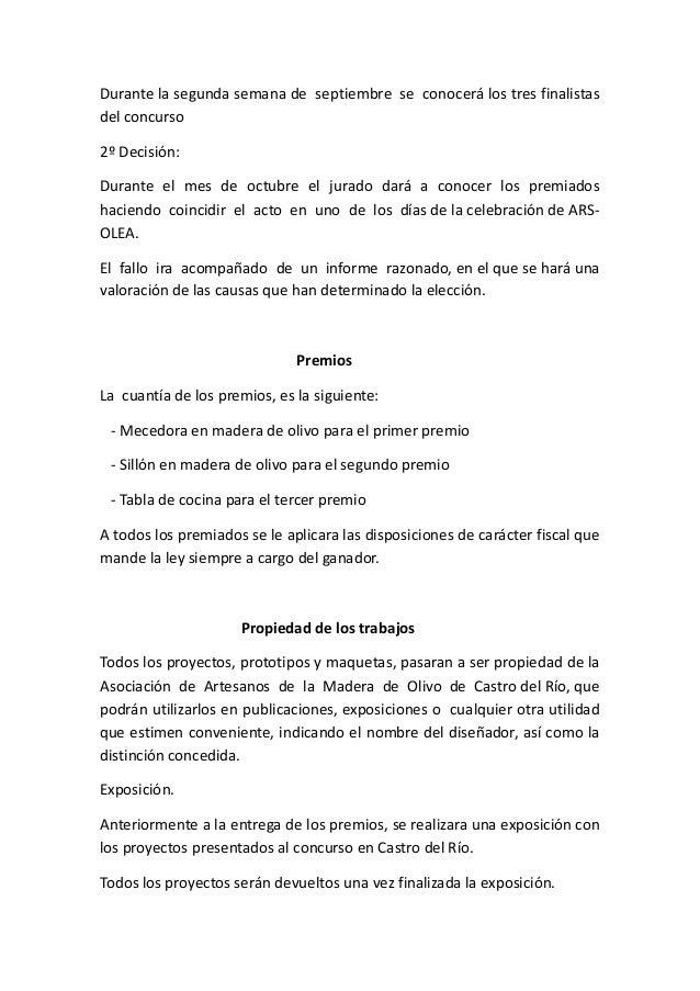 Bases del iii concurso de dise o del mueble en madera de for Tablas de cocina de olivo