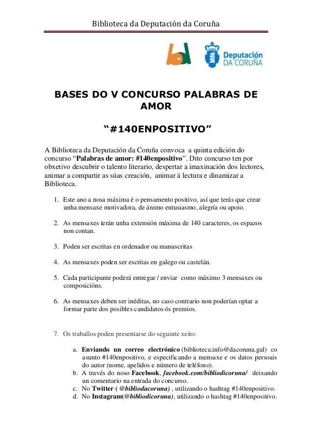 """Biblioteca da Deputación da Coruña BASES DO V CONCURSO PALABRAS DE AMOR """"#140ENPOSITIVO"""" A Biblioteca da Deputación da Cor..."""