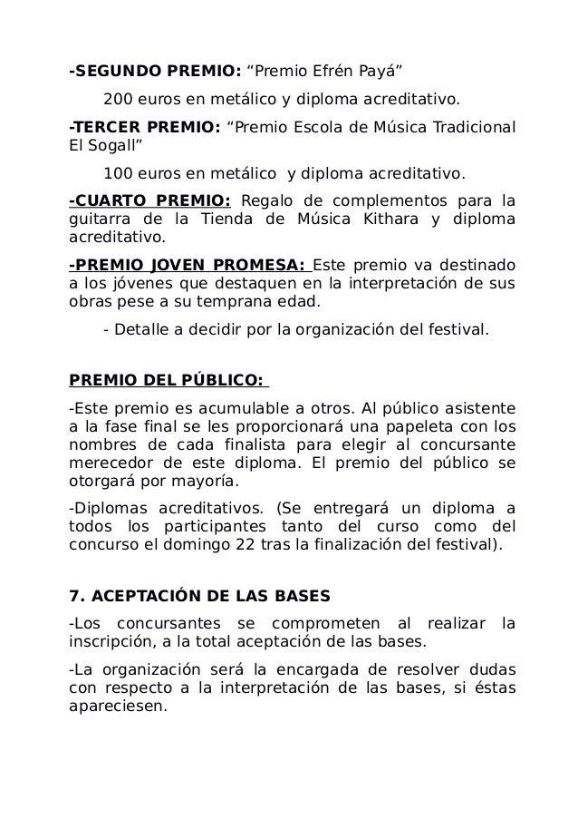 """-SEGUNDO PREMIO: """"Premio Efrén Payá"""" 200 euros en metálico y diploma acreditativo. -TERCER PREMIO: """"Premio Escola de Músic..."""