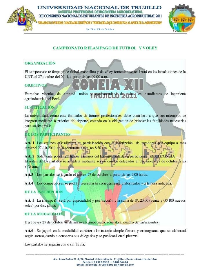 CAMPEONATO RELAMPAGO DE FUTBOL Y VOLEYORGANIZACIÓNEl campeonato relámpago de futbol masculino y de vóley femenino se reali...