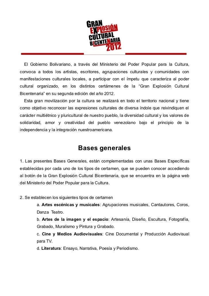 El Gobierno Bolivariano, a través del Ministerio del Poder Popular para la Cultura,convoca a todos los artistas, escritore...