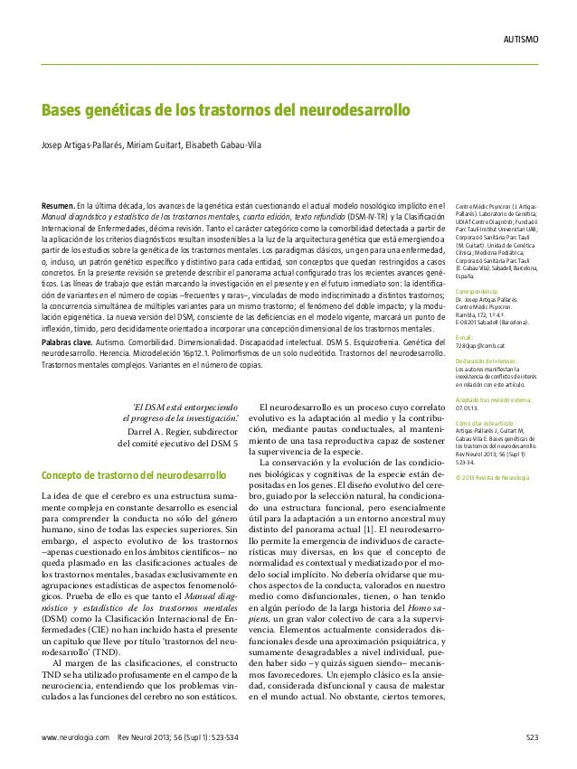 autismo  Bases genéticas de los trastornos del neurodesarrollo Josep Artigas-Pallarés, Miriam Guitart, Elisabeth Gabau-Vil...