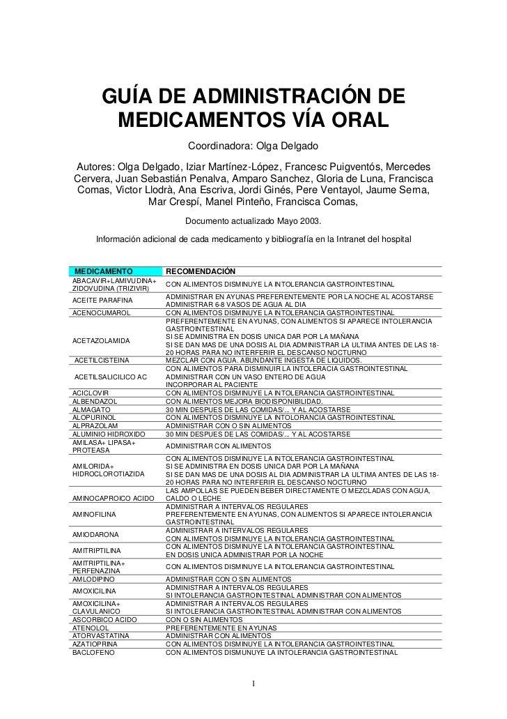 GUÍA DE ADMINISTRACIÓN DE        MEDICAMENTOS VÍA ORAL                              Coordinadora: Olga DelgadoAutores: Olg...