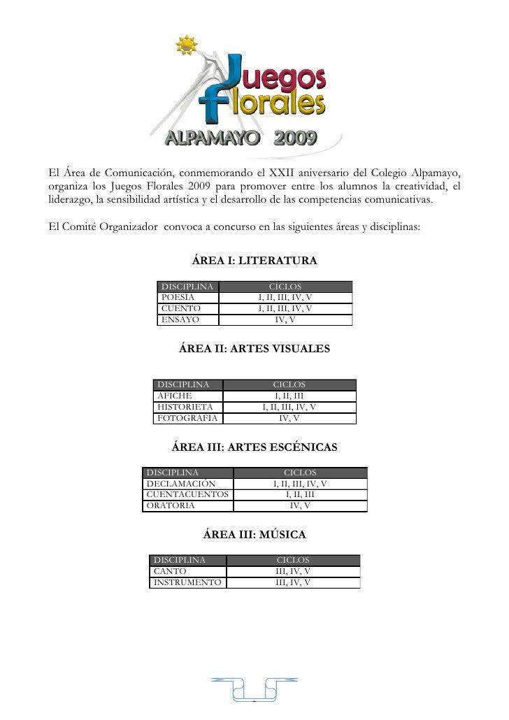 El Área de Comunicación, conmemorando el XXII aniversario del Colegio Alpamayo, organiza los Juegos Florales 2009 para pro...