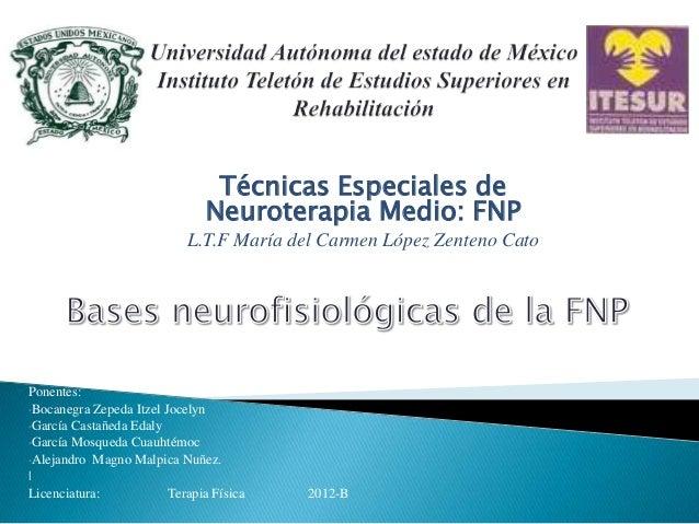 Técnicas Especiales de                               Neuroterapia Medio: FNP                            L.T.F María del Ca...
