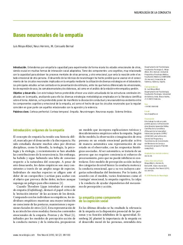 nEUROLOGÍA DE LA CONDUCTaBases neuronales de la empatíaLuis Moya-Albiol, Neus Herrero, M. Consuelo BernalIntroducción. Ent...